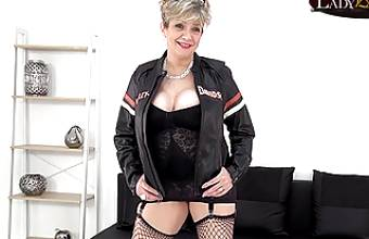 Sexy mature biker babe Lady Sonia strips down