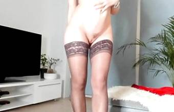 Slim woman shows off her naked body
