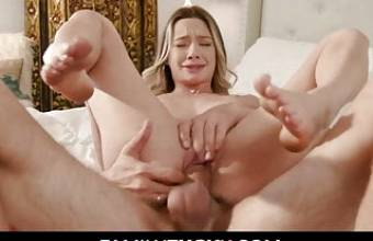 Stepdad Fucks Daughter After Seeing Spread Pussy