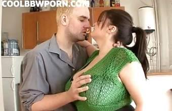 Sucking huge boobs