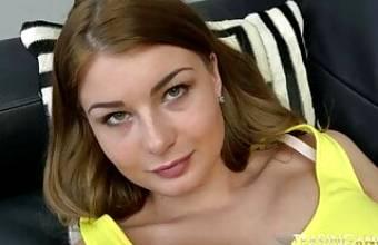 sweet busty euro girl strips off and masturbates