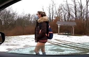 Teen schoolgirl sucks and fucks older stranger for ride