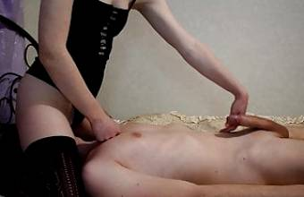 Tied her hands, sat on her face and jerked off on her feet
