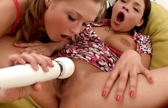 tiny lesbian teen girls – sex play with hitachi