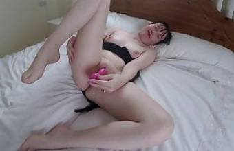 young wife Pleasures herself with Toy